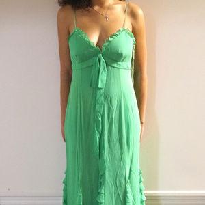 Kay Unger Ruffled Silk Chiffon Slip Dress Gown
